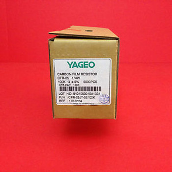 100Kohm 1/4W  5% Yageo Carbon Film Resistor 75000 Pieces