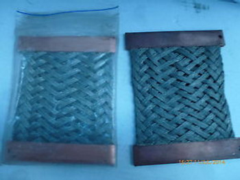Flat Tinned Copper Braid Flexible Ground - Qty of 5 salvage plus Qty of 2 New