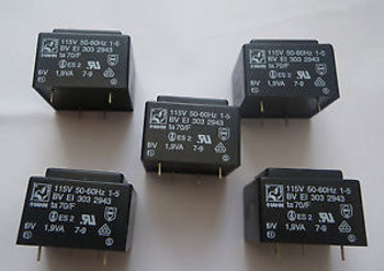 100 pcs Trafo Power Transformer 115V to 9V 1.9VA  HAHN PCB Mount BV EI 303 2943