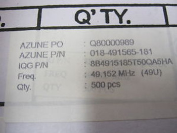 8B4915185T5S0QA5HA QTY 500 49.152 MHZ ORIGINAL FACTORY BOXES INTERQUIP LTD