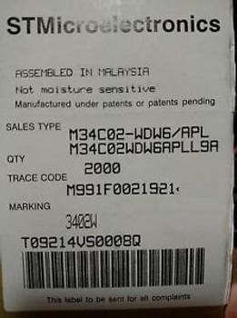 M34C02-WDW6 QTY 36,000 PCS FACT BOX IC EEPROM 2KBIT 400KHZ 8TSSOP M34C02WDW6