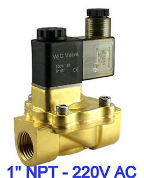 1 Brass Pneumatic Electric Air Water Solenoid Valve Normally Closed 220V AC NBR
