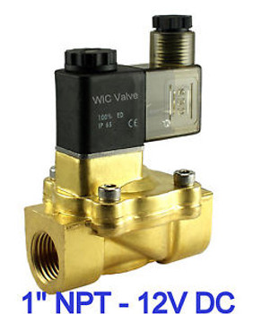 1 Brass Pneumatic Electric Air Water Solenoid Valve Normally Closed 12V DC NBR