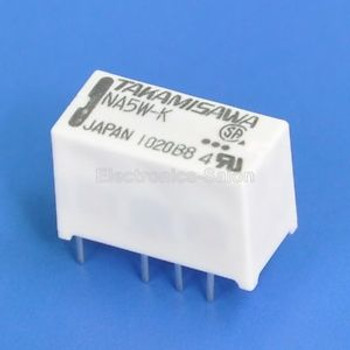 100x TAKAMISAWA NA5W-K DPDT Miniature Relay, 5VDC, for Signal Switching.