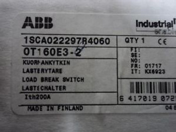1 ABB NON FUSIBLE DISCONNECT SWITCH  125A  600V  3 POLES CAT # OT160ES