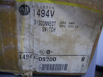 ALLEN-BRADLEY DISCONNECT SWITCH CAT# 1494V 200A 600V 3PH 60HP NIB