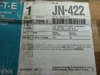 (RR6-2) 1 NIB SIEMENS JN-422 GENERAL DUTY ENCLOSED SWITCH