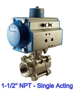 1-1/2 Inch Pneumatic Air Actuated Stainless Steam Ball Valve Single Acting NC