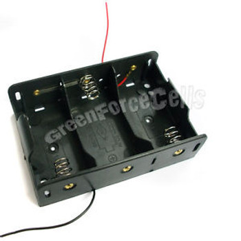 100 Battery Clip Holder Case Box For 3 x D Size R20 HR20 Battery w/ 6 Wire Lead