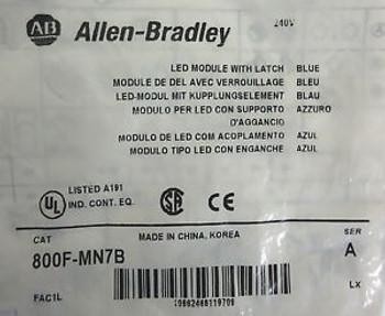 (5) Allen-Bradley 800F-MN7B SER A LED Module With Latch Blue