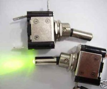100, 12v Green Lighted/illuminated Toggle Switch G07D