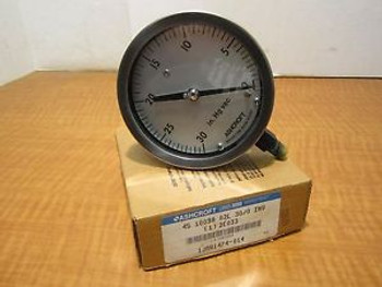 ASHCROFT 45-1009A 02L VAC Vacuum Gauge 4-1/2 Dial 1/4 NPT Stainless Steel NEW