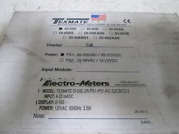 TEXMATE DI-50E DIGITAL METER DR-PSI-1P01-AIC-S2/CB/CS-5 NEW IN A BOX