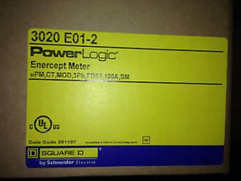 NEW Square D PowerLogic 3020 E01-2 Enercept Meter, 100 Amp MIB Sealed