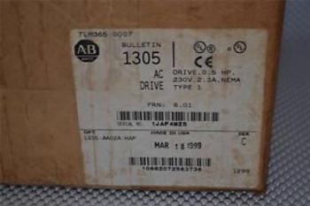 ONE NEW ALLEN-BRADLEY 1305-AA02A-HAP AC DRIVE, 1/2 HP SER. A 1305-AA02A
