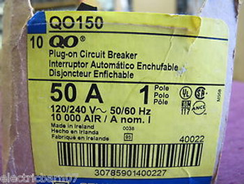 (10) SQD  QO150 50 Amp1 POLE Circuit BreakerNew