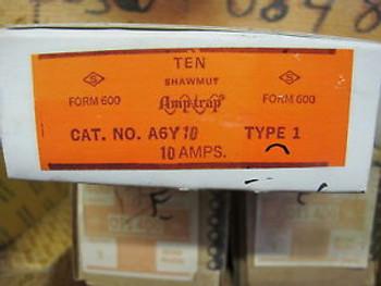 (10) Shawmut Amp Trap A6Y10 10 Amp FuseBox of 10 New