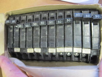 (12) GE THQP150 1P 50 AMP 120 VOLT 10kA Thin Circuit Breaker  New BOX OF 12