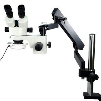 STEREO ZOOM MICROSCOPE WITH ARTICULATING ARM POST CLAMP(3.5X-90X)W/ 54 LED LIGHT