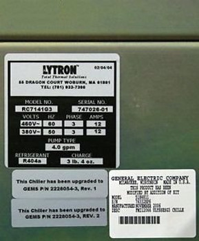GE Coolix 4000 Chiller RC7141G3 2/4/2004 with Kit Modification 5184811 Lytron