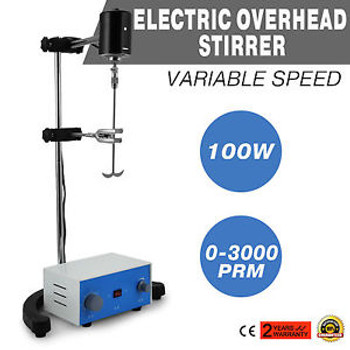 Electric Overhead Stirrer Mixer Corrosion Resistance 100W New Steel Shaft Great