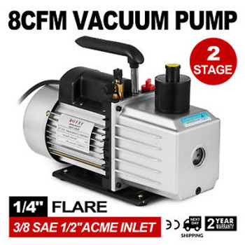 8Cfm Two-Stage Rotary Vane Professional Vacuum Pump 15Micron 1Hp 1/4Flare 3/