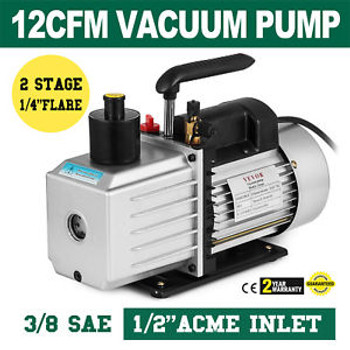 8Cfm Two-Stage Rotary Vane Vacuum Pump 1/2Acme Inlet Oil Fill Port Hvac/Auto