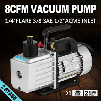 8Cfm Two-Stage Rotary Vane Vacuum Pump 15Micron 1Hp Oil Reservoir Ac Refrigerant