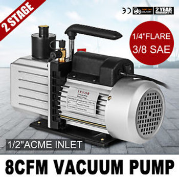 8Cfm Two-Stage Rotary Vane Vacuum Pump 1/4Flare 15Micron 1Hp Oil Reservoir