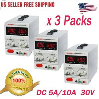 3X Universal 10A 30V Dc Dual Digital Power Supply Overload Circuit Protecting Ht