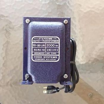New Todd Systems 2000W Stepdown 230V To 115V Auto Transformer Sd 20 Lrg