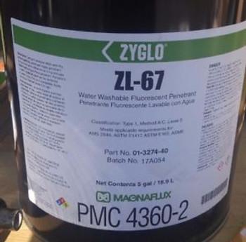 MF ZL-67 5 GALLON 01-3274-40 ZYGLO Fluorescent Penetrant