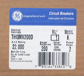 NEW General Electric THQMV200D 200A 2-Pole 120/240V Circuit Breaker WARRANTY