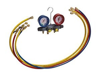 Yellow Jacket 46003 Brute II Test and Charging Manifold F/C Red/Blue Gauge ba...