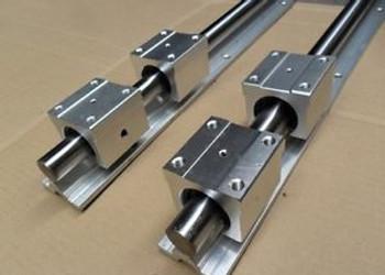 2Pcs Sbr25-850Mm 25Mm Fully Supported Linear Rail Shaft Rod+4Pcs Sbr25Uu