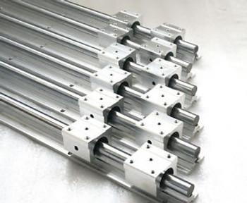 6Pcs Sbr12-256/1065/1355Mm Fully Supported Linear Rail Shaft Rod+12Pcs Sbr12Uu