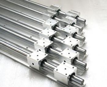 6Pcs Sbr20-250/600/650Mm Fully Supported Linear Rail Shaft Rod+12Pcs Sbr20Uu
