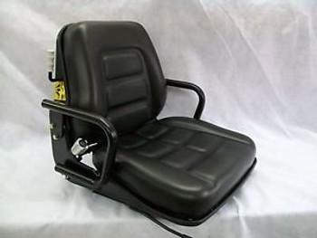 Black Suspension Seat W/Hip Restraint Forklift,Skid Loader,Dozer,Telehandler #Kp
