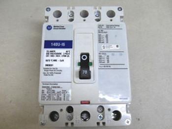 (K3) 1 ALLEN BRADLEY 140U-I6C3-C70M CIRCUIT BREAKER 70 AMPS