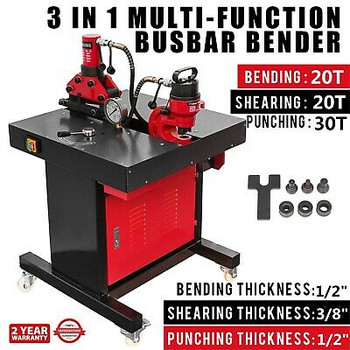 3 In 1Electric Hydraulic Busbar Bender 20-30 Ton Hole Puncher Stable Copper