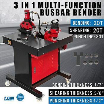 3-In-1Electric Hydraulic Busbar Bender 20-30 Ton 3/8 Thick 4 Casters Punching
