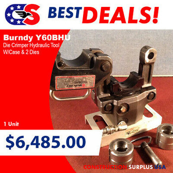 Burndy Y60Bhu Die Crimper Burndy Hydraulic Tool W/Case & 2 Dies