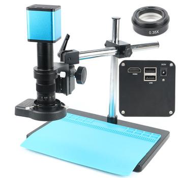 SONY IMX290 Video Microscope Camera Autofocus 1080P HDMI UDisk Digital Video Microscope 180X Boom Stand Set+0.35X Objective Lens