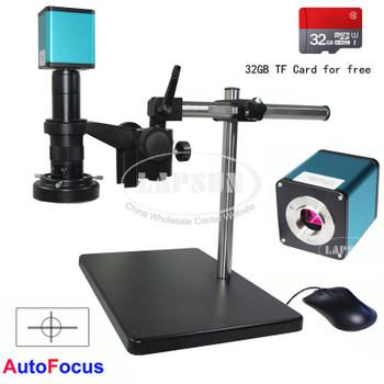 Lapsun 32GB TF card Autofocus 1080P 60FPS SONY Sensor IMX290 HDMI Industry Auto Focus Focal Microscope Camera 180X Lens Stand