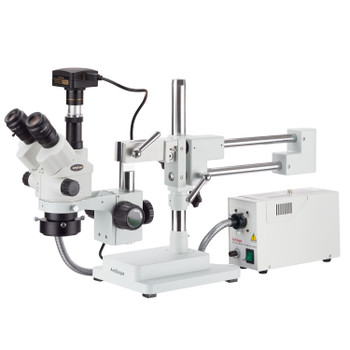 AmScope 7X-90X Simul-Focal Stereo Zoom Microscope with a Fiber Optic Ring Light and 18MP USB3 Camera