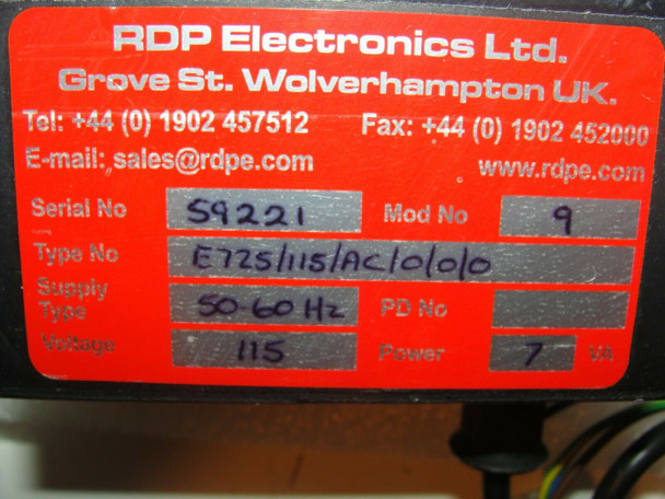RDP Electronics E725 Transducer Indicator Panel 115V 7VA Type: E725/115/AC/0/
