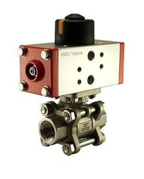 1/2 Inch Pneumatic Double Acting Air Return Air Actuated Stainless Ball Valve
