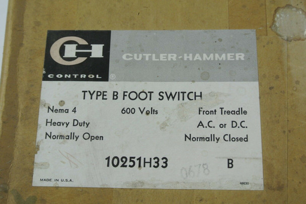 CUTLER-HAMMER 10251H33B TYPE B FOOT SWITCH FRONT TREADLE AC/DC 600V