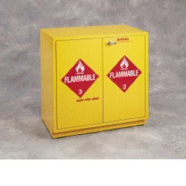 SCIENTIFIC MATERIALS SC1848 Yellow Under-The-Counter Flammables Cabinet, 52 x 1 gal Capacity, 119.38 cm W x 90.17 cm H x 55.88 cm D