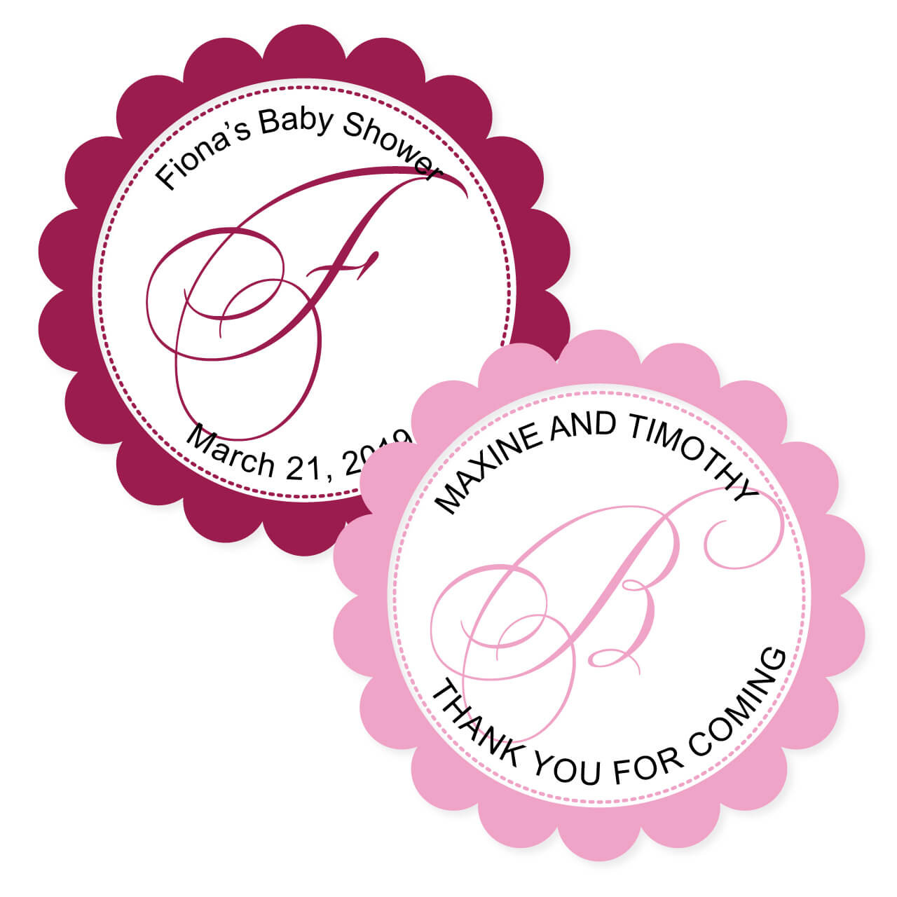 Bella Scalloped Round Personalized Stickers Set Of 20